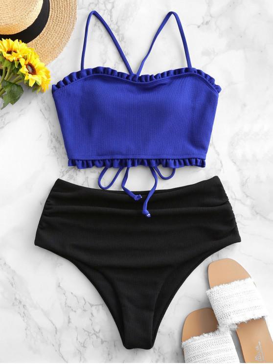 women's ZAFUL Colorblock Lettuce Trim Lace Up Ribbed Tankini Swimsuit - COBALT BLUE L