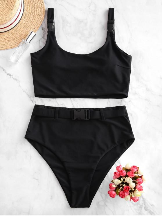 fancy ZAFUL Push Buckle High Waisted Padded Tankini Swimsuit - BLACK L