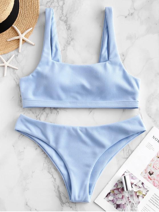 ZAFUL Maillot de Bain Bikini Côtelé à Col Carré - Bleu de Jean S