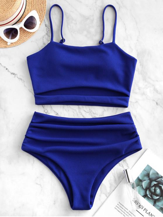sale ZAFUL Ribbed Cut Out Tummy Control Tankini Swimsuit - COBALT BLUE S