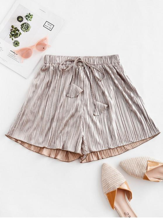 womens Pleated Metallic Loose Beach Shorts - CHAMPAGNE GOLD M