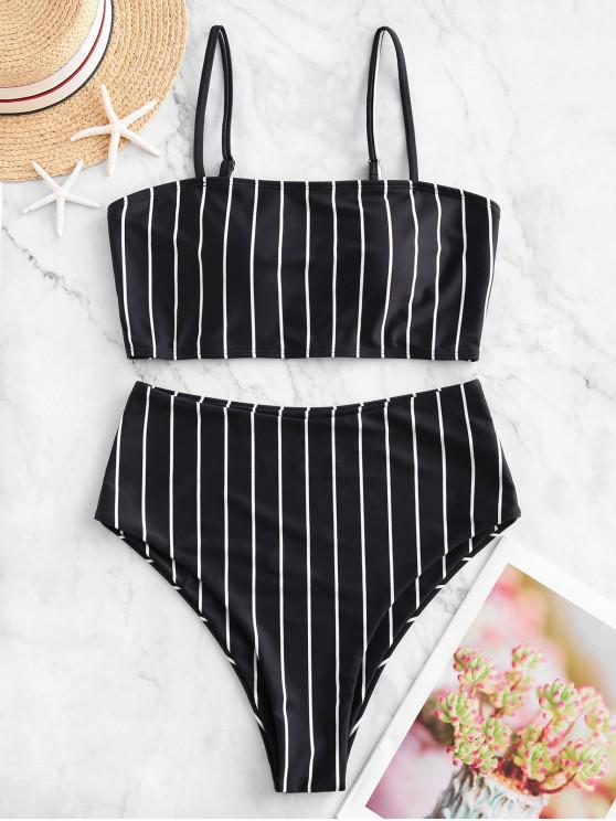 shop ZAFUL Striped High Waisted Cami Tankini Swimsuit - MULTI-A 2XL