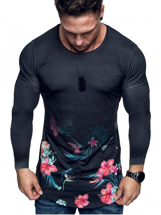 hot Flowers Printed Long Sleeve Slimming T-shirt - BLACK XS