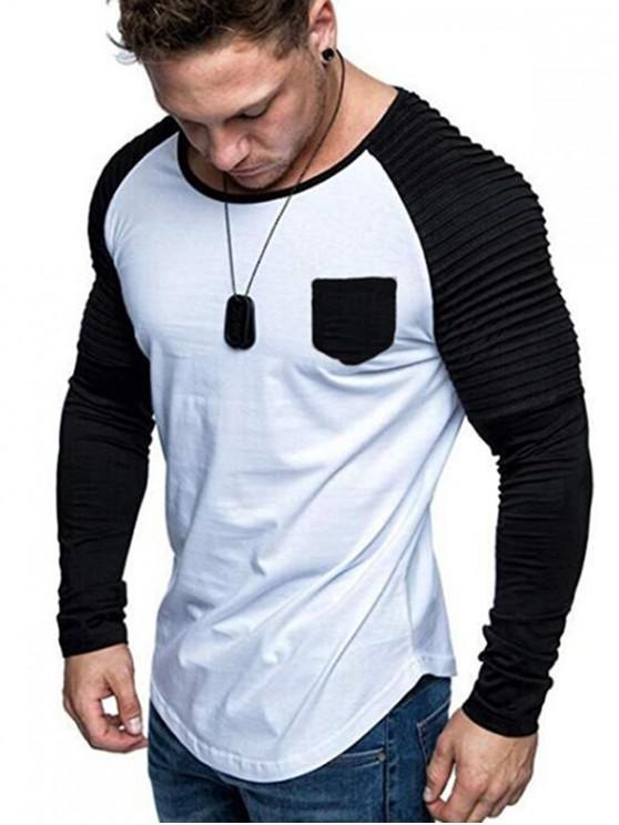 outfits Contrast Raglan Sleeve Pleated Trim Pocket T Shirt - WHITE 3XL