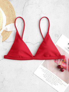 ZAFUL Thin Strap Plunge Bikini Top - Red S
