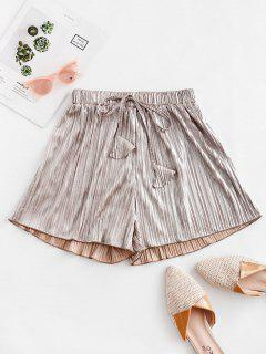 Pleated Metallic Loose Beach Shorts - Champagne Gold M