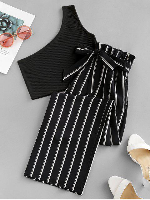 affordable ZAFUL One Shoulder Striped Belted Two Pieces Suit - MULTI-A S Mobile