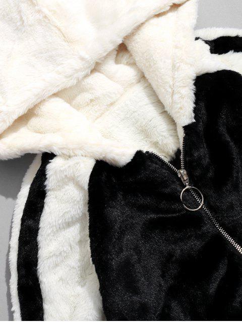 affordable Faux Fur Colorblock Raglan Sleeve Fluffy Hooded Jacket - BLACK M Mobile