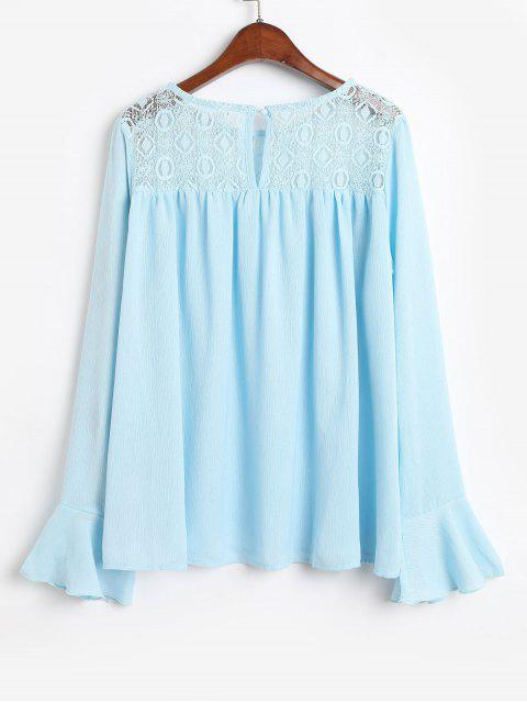 trendy Flare Sleeves Lace Panel Cut Out Blouse - BLUE S Mobile