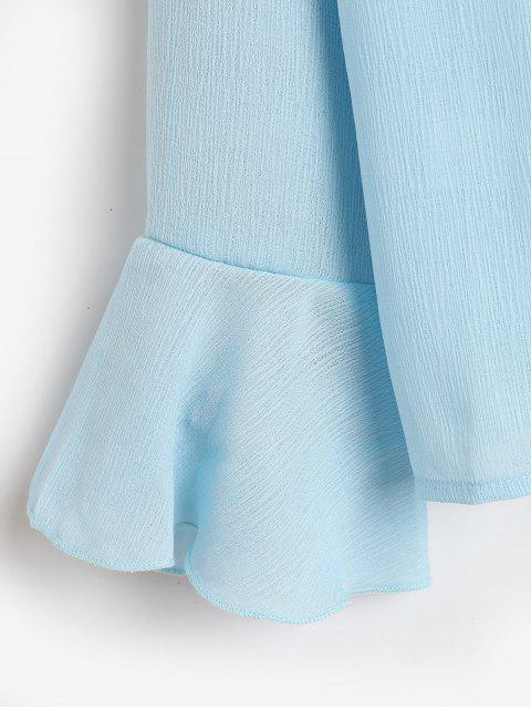 unique Flare Sleeves Lace Panel Cut Out Blouse - BLUE L Mobile