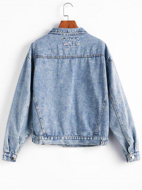 Chaqueta vaquera estilo boyfriend con botones y bolsillo con hombros descubiertos - Azul Denim L Mobile