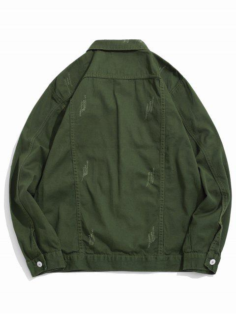 hot Solid Color Ripped Denim Jacket - ARMY GREEN S Mobile