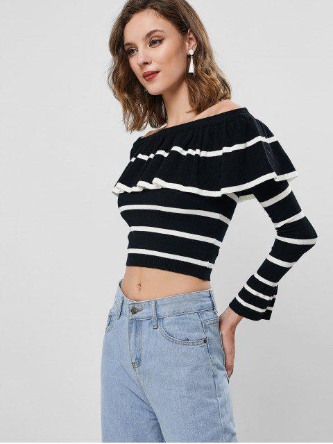 buy Pullover Stripes Off Shoulder Ruffles Sweater - BLACK M Mobile