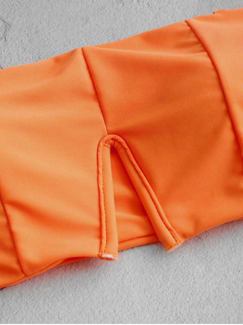 ZAFUL Maillot de Bain Bikini Bandeau Néon à Taille Haute à Armature en V - Orange Mangue M Mobile