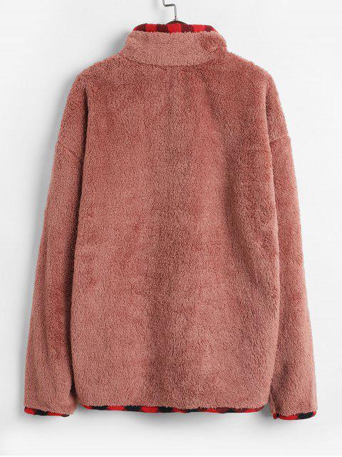 outfits Plaid Trim High Neck Faux Fur Sweatshirt - PINK M Mobile