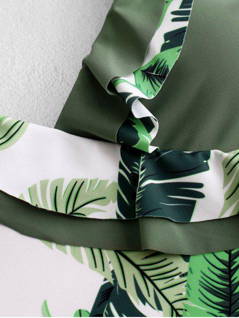 buy ZAFUL Palm Leaf Ruffle One-piece Swimsuit - MULTI-A XL Mobile