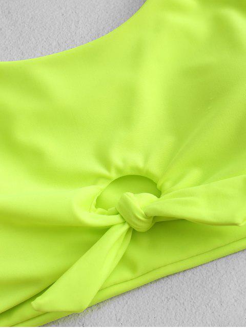 ZAFUL de neón del nudo Camo Tankini del traje de baño - Verde Amarillo M Mobile
