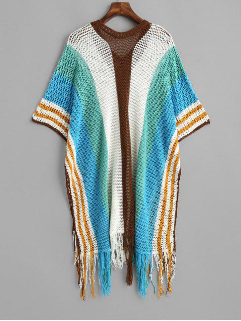 trendy Fringed Wide Striped Crochet Poncho Cover Up Top - MULTI-A ONE SIZE Mobile