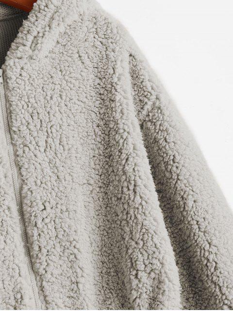 Chaqueta de peluche esponjosa con capucha y cremallera ZAFUL - Gris Claro S Mobile