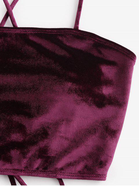 ZAFUL del cordón del terciopelo panza de control de Tankini del traje de baño - Vino Tinto 2XL Mobile
