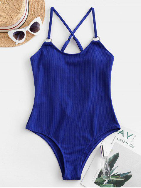 lady ZAFUL Ribbed Criss Cross One-piece Swimsuit - COBALT BLUE XL Mobile