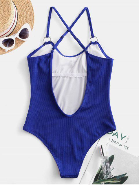 sale ZAFUL Ribbed Criss Cross One-piece Swimsuit - COBALT BLUE M Mobile