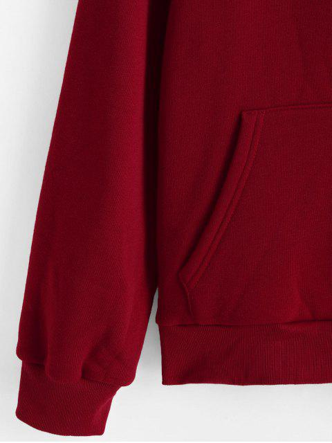 lady ZAFUL Fuzzy Lining Funny Graphic Hoodie - LAVA RED M Mobile
