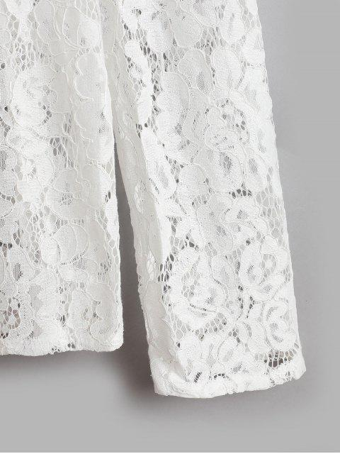 chic Ruffled Neck See Through Lace Top - WHITE S Mobile
