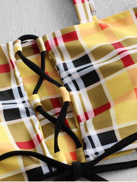 ZAFUL Maillot de Bain Bikini Contrasté à Carreaux à Coupe Haute à Lacets - Jaune Clair M Mobile