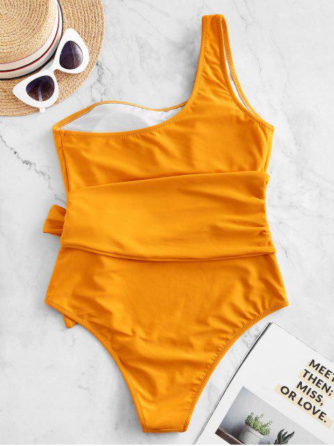 trendy ZAFUL One Shoulder Belted One-piece Swimsuit - BRIGHT YELLOW S Mobile