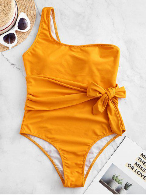 chic ZAFUL One Shoulder Belted One-piece Swimsuit - BRIGHT YELLOW M Mobile