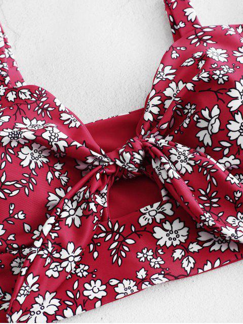 ZAFUL Ditsy anudada High Cut Tankini del traje de baño - Rojo de Valentín S Mobile