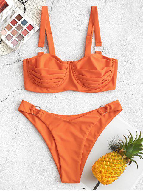 ZAFUL Maillot de Bain Bikini Plissé Noué Bague en O à Armature - Orange Mangue L Mobile