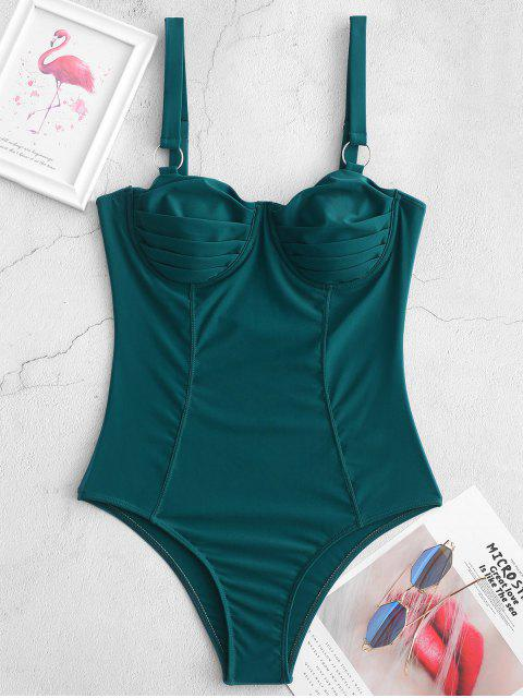 women's ZAFUL O-ring Underwire Pleated One-piece Swimsuit - GREENISH BLUE L Mobile