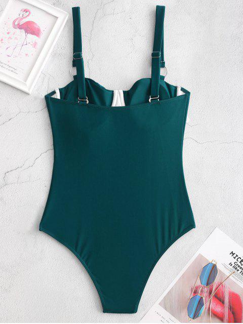 ZAFUL junta tórica Underwire una sola pieza plisado traje de baño - Azul Verdoso M Mobile