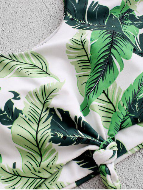 ZAFUL hoja de palma nudo acanalada de Tankini del traje de baño - Multicolor-A S Mobile