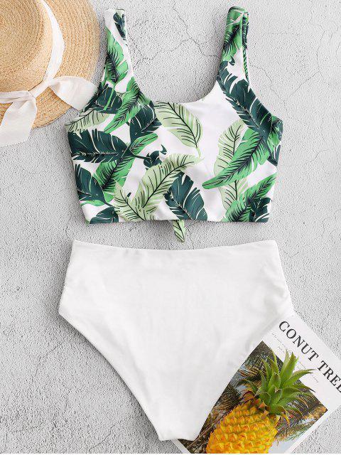 ZAFUL棕櫚葉結褶飾Tankini泳裝 - 多-A L Mobile