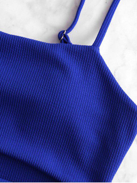 ZAFUL acanalado fotografica de Control de Abdomen Tankini del traje de baño - Azul Cobalto S Mobile