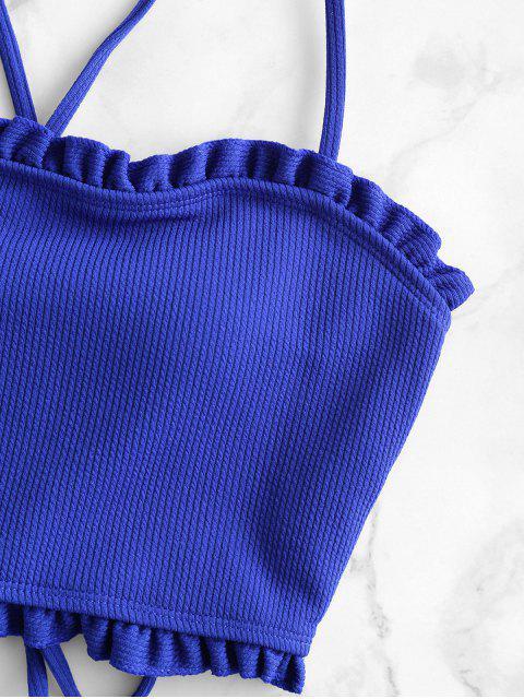 ZAFUL Colorblock Lechuga del cordón del ajuste hacia arriba acanalado Tankini del traje de baño - Azul Cobalto XL Mobile