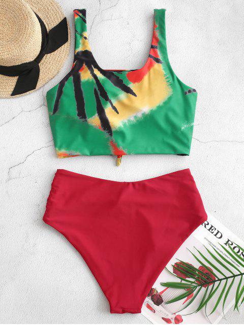 ZAFUL nudo acanalada del tinte del lazo del traje de baño de Tankini - Multicolor-A S Mobile