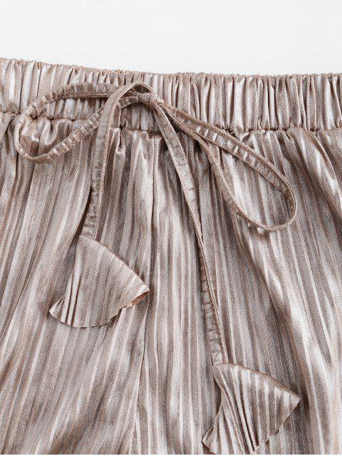 womens Pleated Metallic Loose Beach Shorts - CHAMPAGNE GOLD M Mobile