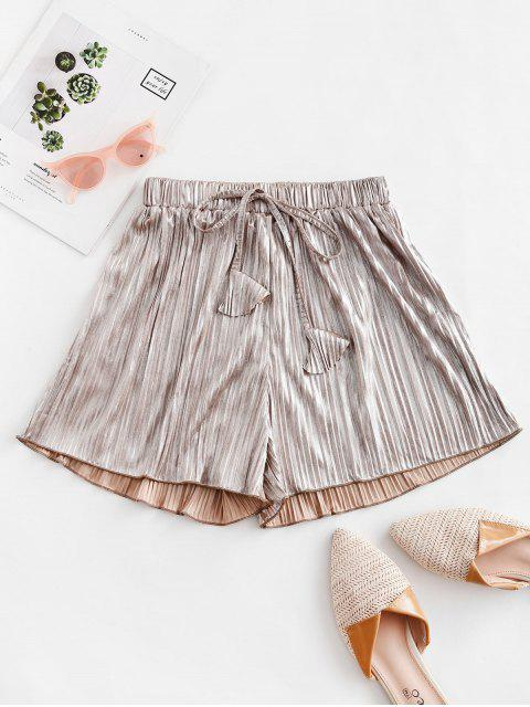 sale Pleated Metallic Loose Beach Shorts - CHAMPAGNE GOLD S Mobile