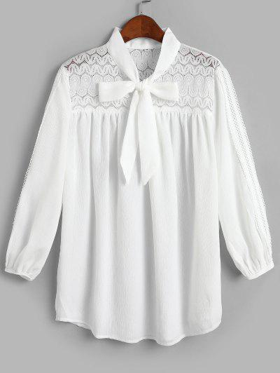 Lace Panel Picot Trim Bowtie Blouse - White S