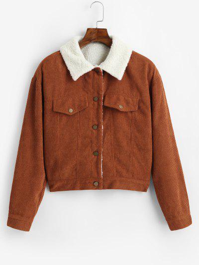ZAFUL Fuzzy Corduroy Jacket - Caramel S