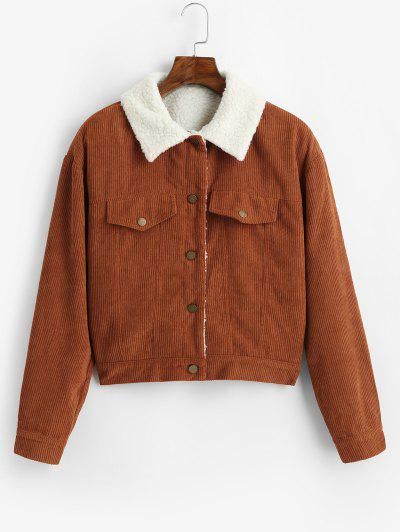 ZAFUL Fuzzy Corduroy Jacket - Caramel L
