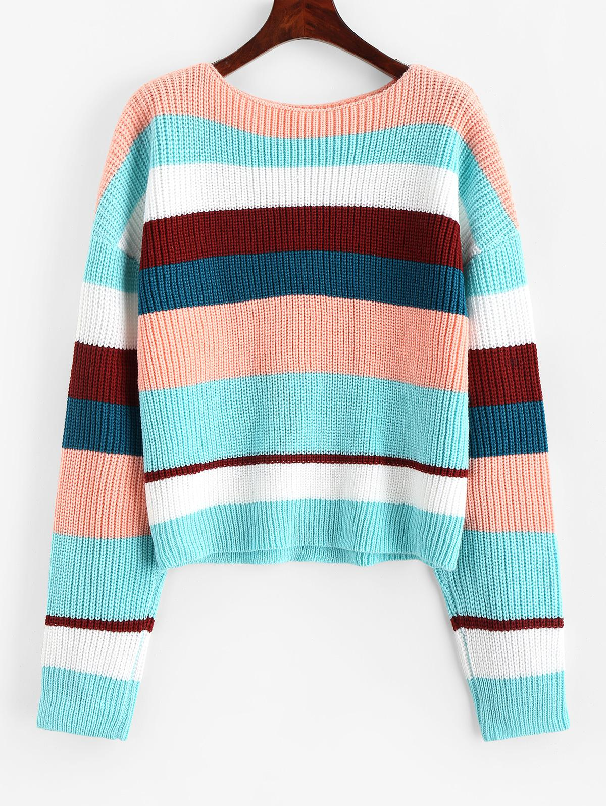ZAFUL Drop Shoulder Color Block Stripes Pullover Sweater