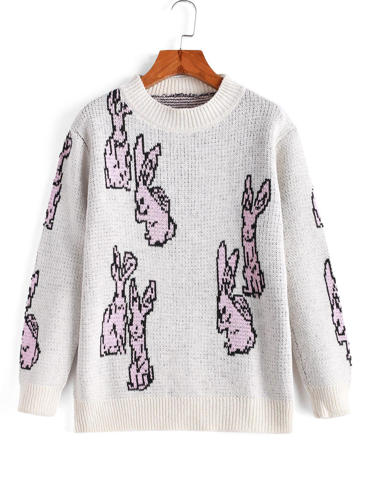 Funny Mock Neck Rabbit Graphic Sweater