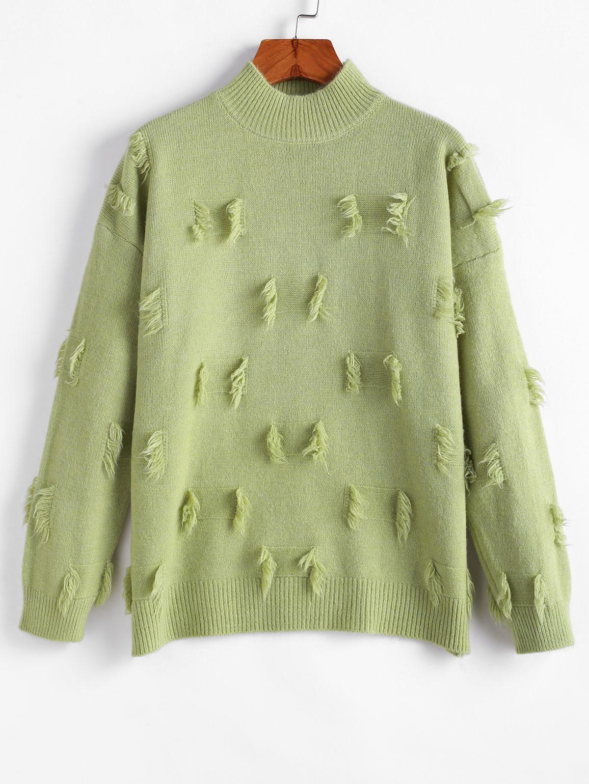 Fringed Detail Mock Neck Drop Shoulder Sweater