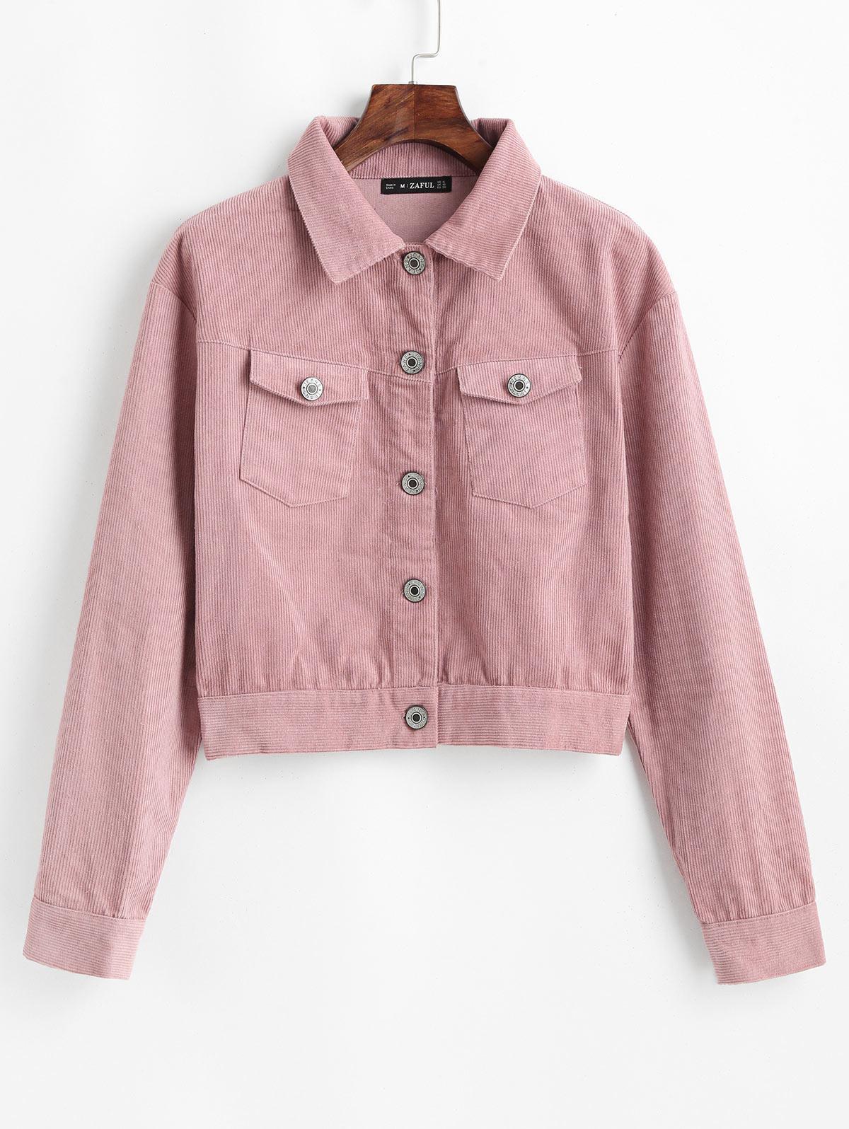 ZAFUL Button Up Cropped Corduroy Jacket