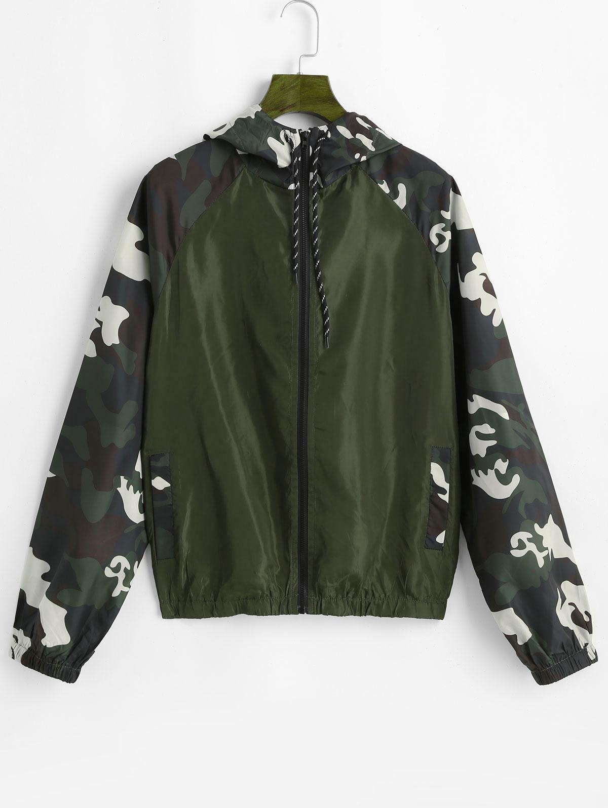 ZAFUL Hooded Camo Print Jacket